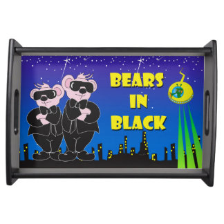 BEARS IN BLACK CARTOON Small Serving Tray, Black Serving Tray