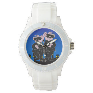 BEARS IN BLACK CARTOON Sporty White Silicon Watch