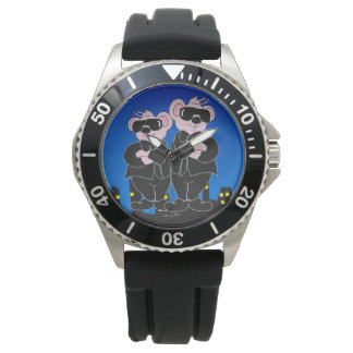 BEARS IN BLACK CARTOON Stainless Steel Black Rubbe Watch