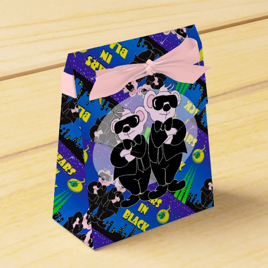 BEARS IN BLACK CARTOON Tent & Ribbon Favour Box 2 Favor Box