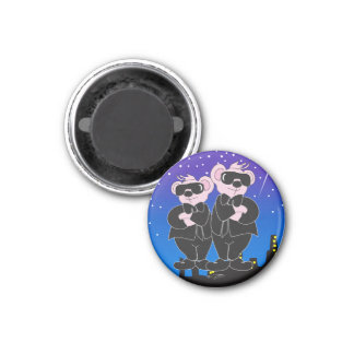 BEARS IN BLACK Round Magnet small