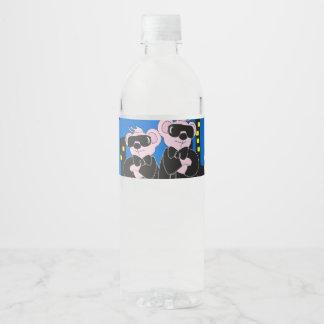 """BEARS IN BLACK Water Bottle Label (8.25"""" x 1.75"""")"""