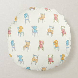Bears On Chairs Pattern Round Pillow