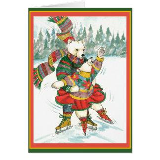 Bears on Skates Greeting Card