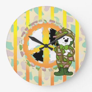 BEARS SOLDIER CARTOON LARGE ROUND CLOCK