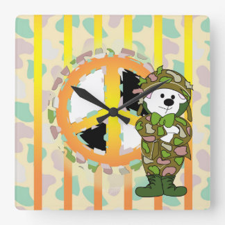 BEARS SOLDIER CARTOON LARGE SQUARE CLOCK