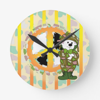 BEARS SOLDIER CARTOON SMALL ROUND CLOCK