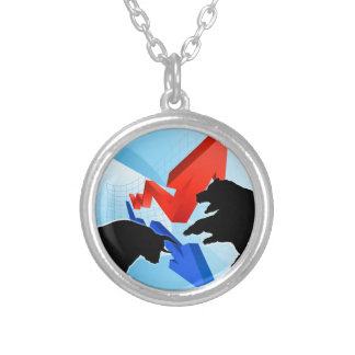Bears Versus Bulls Stock Market Concept Silver Plated Necklace