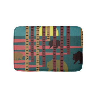 Bears walking in the woods bath mat