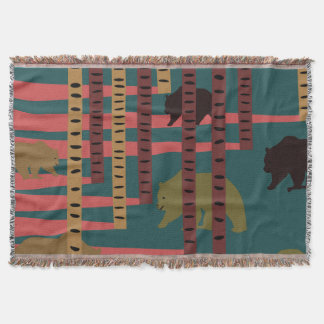 Bears walking in the woods throw blanket