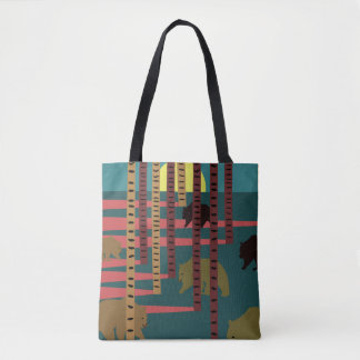Bears walking in the woods tote bag