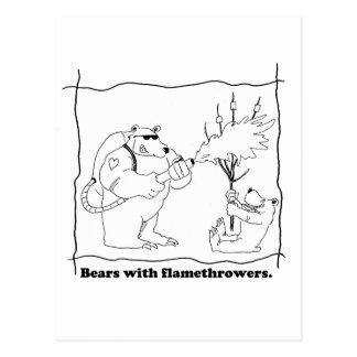 Bears with flamethrowers postcard