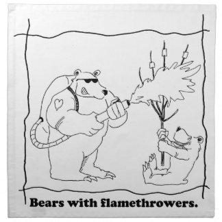 Bears with flamethrowers printed napkin