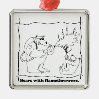 Bears with flamethrowers Silver-Colored square ornament