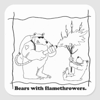Bears with flamethrowers square sticker