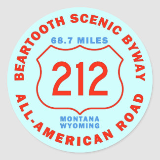 Beartooth Scenic Byway All American Road Round Sticker