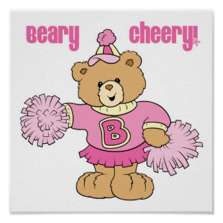 Beary Cheery Cheerleading Bear Poster