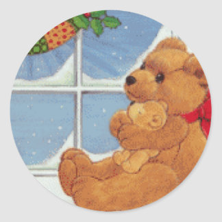 Beary Christmas Classic Round Sticker
