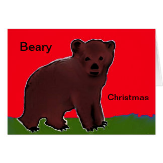 Beary Christmas Greeting Card Bear Cub