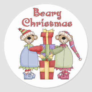 Beary Christmas Presents Classic Round Sticker