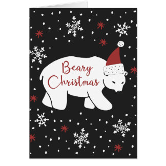 Beary Christmas Santa Hat Polar Bear Card