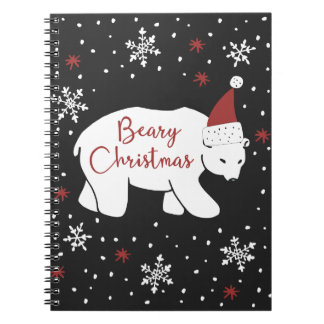 Beary Christmas Santa Hat Polar Bear Notebooks