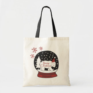 Beary Christmas Santa Hat Polar Bear Tote Bag
