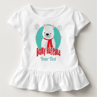 Beary Huggable Winter Christmas Bear Personalized Toddler T-shirt