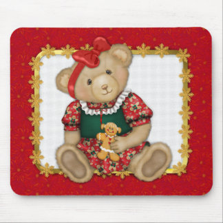 Beary Merry Christmas -Girl Teddy Mouse Pad