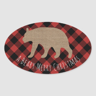 Beary Merry Christmas Plaid Burlap Bear Oval Sticker