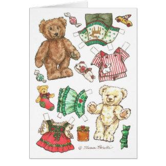 Beary Merry Teddy Bear Paper Doll Christmas Card