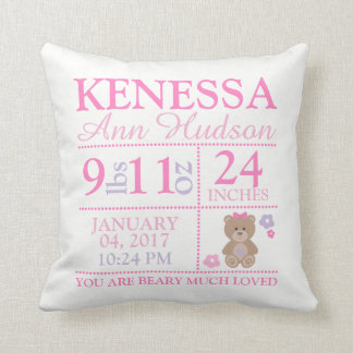 Beary Much Loved Birth Stat Pillow for Newborns
