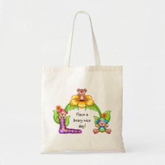 Beary Nice Day Pixel Art Budget Tote Bag
