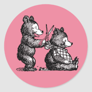 Beary Nice Hairdresser Round Sticker