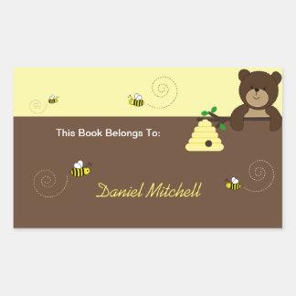 Beary Sweet Bear & Bee Custom Book Plate Sticker