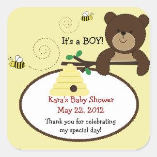 Beary Sweet Bear & Bee SQUARE Favor Sticker
