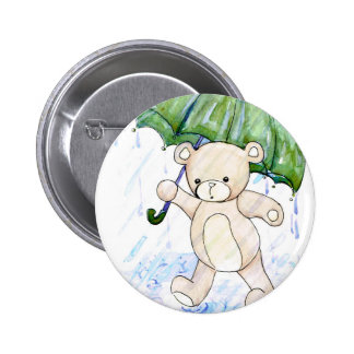 Beary wet teddy 2 inch round button