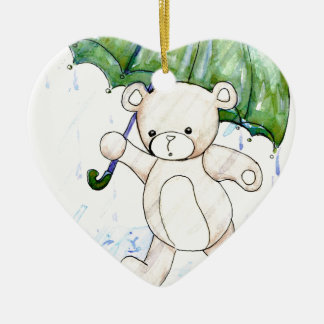 Beary wet teddy ceramic heart ornament