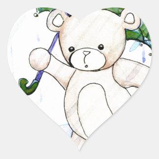 Beary wet teddy heart sticker