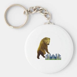 Bearzilla Basic Round Button Keychain