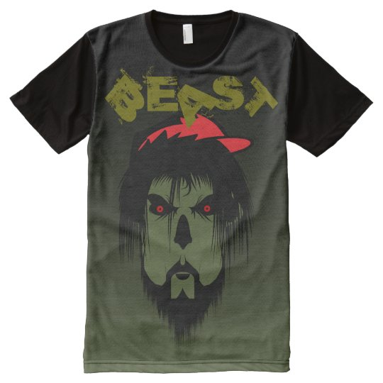 BEAST All-Over Printed Panel T-Shirt