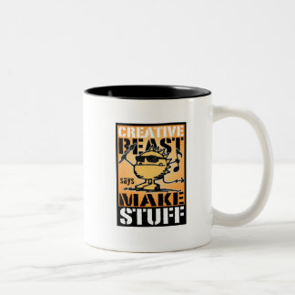 beast_emblem, CrazyLogo_webaddress Two-Tone Coffee Mug