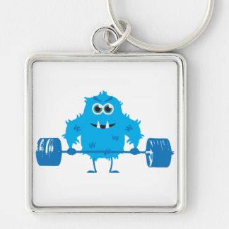 Beast Mode - Cute Monster Lifting Weights Silver-Colored Square Keychain
