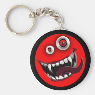 beast smiley basic round button keychain