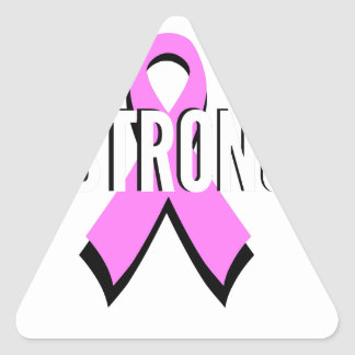 Beat Cancer- Strong Breast Cancer Pink Ribbon Triangle Sticker