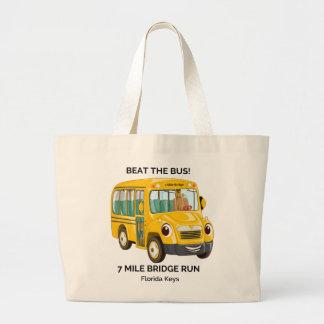 Beat the Bus, 7 Mile Bridge Run Large Tote Bag