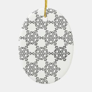 Beatiful Snowflake Pattern Ceramic Oval Ornament