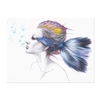 Beatiful woman fish surreal art Wrapped canvas