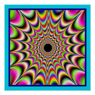 Beating Black Center Beaming Colors Poster