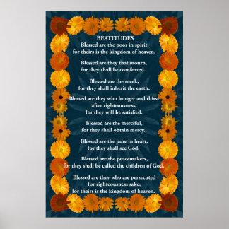 Beatitudes in a Calendula Frame Poster